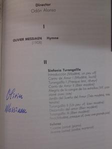 Programa de mano del concierto de la Orquesta Sinfónica de RTVE de mayo de 1989 donde Odón Alonso dirigió la
