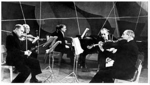 Dmitri Shostakovich (piano) junto a los miembros del Cuarteto Beethoven